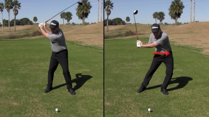 Sliding your hips toward the target as you swing is the easiest and most common way to lose distance off the tee