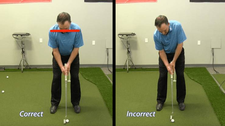 Dropping the trail shoulder in the putting setup is a common mistake. Keep the shoulders level.