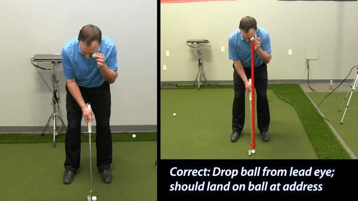 The ball should be positioned below the lead eye at address. To check, drop a secondary ball from the lead eye and it should land on the ball