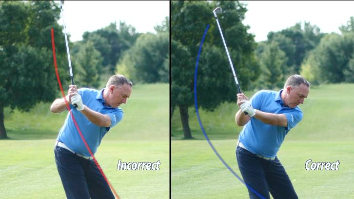 The chicken wing causes a steep golf backswing